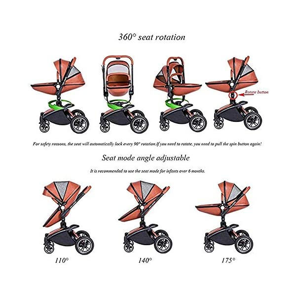 Yyqt Baby Carriage,with Buggy Top and Carrycot Travel System Feature New 2019, Stroller 2 in 1, it Includes Specifications: Eggshell Seat, Sleeping Basket, Red Seat Cushion (Color : Pink) Yyqt ♥360-degree swivel seat, high-quality leather, aluminum alloy frame (for safety reasons, the seat rotates 90 degrees and locks automatically.) If you want to turn again, turn the knob again) can be used as a cradle ♥Sports car seat: can be used in and against the direction of travel. The seat can easily be used in or against the direction of travel and a resting position in both directions is possible for a nap. ♥Cross-country stroller includes: red seat pad for babies, baby frame and eggshell chair, sleeping basket, car safety seat, 6