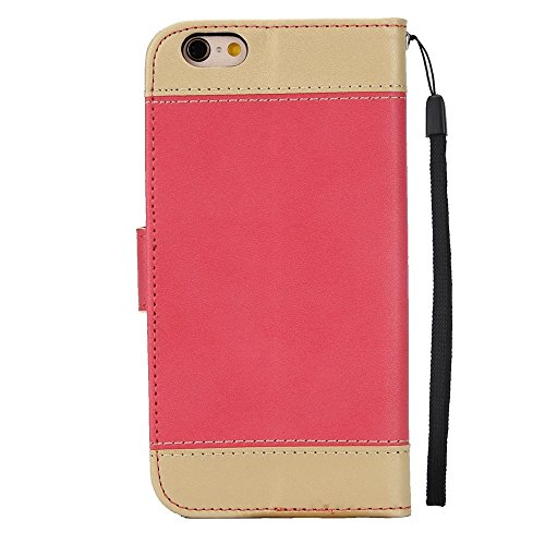 Dual Color Matching Premium PU Leder Flip Stand Case Cover mit Card Cash Slots und Lanyard für iPhone 6 Plus und 6s Plus ( Color : Red ) Red