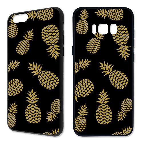Handyhülle Ananas für Samsung Silikon Pineapple Gold Tropical Watermelon Fruits Früchte Flamingo Melon, Kompatibel mit Handy:Samsung Galaxy A3 (2017), Hüllendesign:Design 6 | Silikon Schwarz Gold-frucht