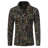 KPPONG 2018 Männer Sweatshirt Shirt Tops Mantel Mode Camouflage Kordelzug Stehkragen Langarm Herbst Winter Ourdoor Dschungel Feldtaschen Medium Grün