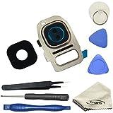 EWPARTS para Samsung galaxy S7/S7 edge G930F lente de la cámara Anillos cubierta de cristal + pegatina adhesiva + herramientas + paño de limpieza (Oro)