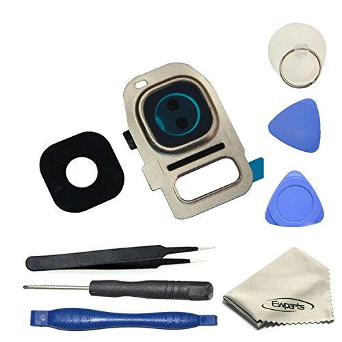 EWPARTS for Samsung galaxy S7 / S7 edge Kamera Objektiv Abdeckung Ringe Glas + Aufklebers + Werkzeuge + Reinigungstuch , S7 Edge Hintere Camera Glas (Gold)
