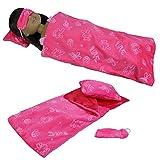 ZITA ELEMENT Puppenbettzeug Bettwäsche für 35-36cm Babypuppen American Girl Puppen Schlafsack Kissen mit Schlafmaske Puppenbettwäsche (Rose Rot)
