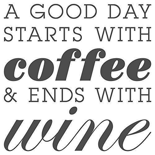 dekodino® Sticker mural - - Sticker mural cuisine Inscription A Good Day STARTS with coffee and Ends with Wine ludique inscription en anglais Décoration Murale boissons Café alcool Vin Décoratio