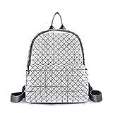 JL Geometrische Rhombische Rucksack Mode Persönlichkeit Wilden Lässig Zusammenklappbaren Laser Rucksack Handtasche,White