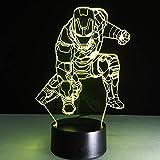 Veilleuse 3d Movie Anime 3d lampe Super Heros Captain Amérique Ironman Spiderman Figure acrylique Flash Toy éclairage pour enfants night lamp Dropship Black Base