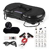 GENKI Vibrationsplatte Vibrationsgerät, Profi 3D Vibrationstrainer, inkl. Trainingsbänder Übungsposter Fernbedienung-150kg, Schwarz