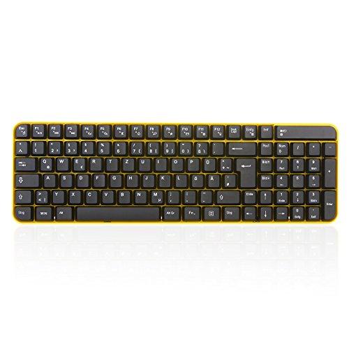 Kabellose Tastatur und Maus, Jelly Comb 2.4G Ultra Dünne Bewegliche Drahtlose Tastatur und Maus Combo (QWERTZ, Deutsches Layout) Full-Size Ergonomische Kabellose Flüsterleises Tastaturdesign, Gelb &Schwarz - 5