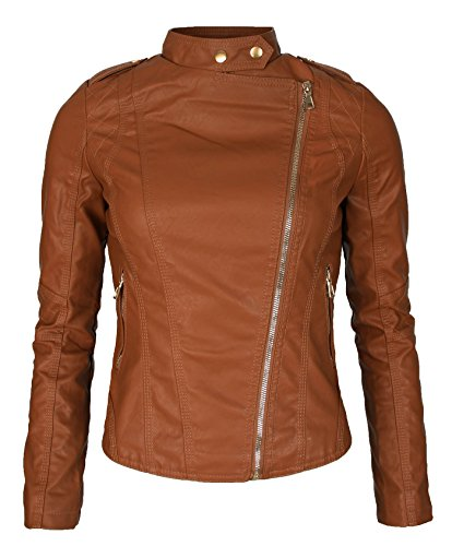 Couture femme simili cuir biker cuir veste biker jacket courte transition 86 Marron - Marron