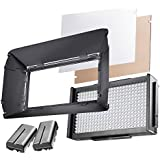 Walimex Pro LED Foto Video Square 312 Bi Color Akku Set, LED Leuchte, On Camera, Kopflicht, Foto Video Leuchte, Tageslicht, Bi Color, 2 x NP-F 550 Akku