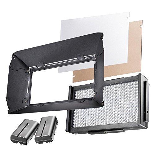 Walimex Pro LED Foto Video Square 312 Bi Color Akku Set, LED Leuchte, On Camera, Kopflicht, Foto Video Leuchte, Tageslicht, Bi Color, 2 x NP-F 550 Akku