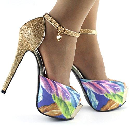 Voir l'établissement histoire or/argent plume impression Open Toe plate-forme Stiletto sandales, LF80827 Or