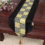 Einfache moderne Mode Ölgemälde Tisch Couchtisch TV Schrank Bett Flag Tisch Tuch Tuch Nordic pastoralen Veranda Abdeckung Handtuch schwarz 13x79 Zoll (33x200 cm)