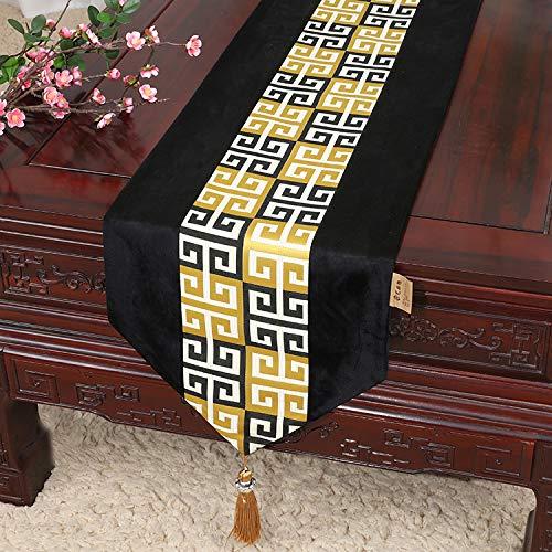 e Ölgemälde Tisch Couchtisch TV-Schrank Bett Flag Tisch Tuch Tuch Nordic pastoralen Veranda Abdeckung Handtuch schwarz 13x118in (33x230cm) ()