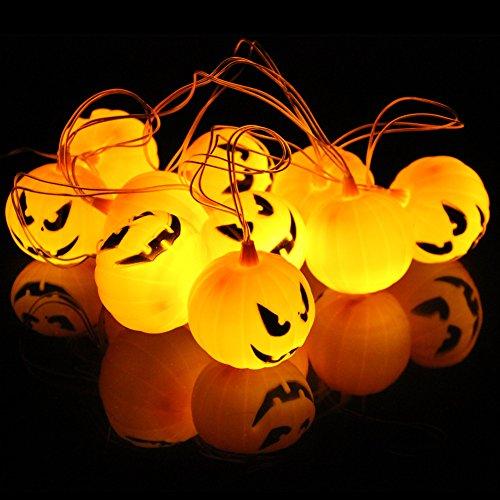 Halloween Jack-O-Laterne – Autbye Kürbis String Lights 10 LED 2 AA Batteriebetrieben Dekoration Licht für Halloween, KTV, Party, Drinnen und Draußen