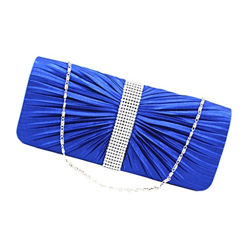 Damentasche Clutch Handtasche mini tasche Schultertasche Frauen Eleganter Kristall Satin Plissee-Abend-Partei Hochzeit Geldbörse Handtasche Blau - Blau Blau