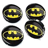 Skino 4 x 60mm Coprimozzi Copricerchi Tappi Ruote Batman 3D Gel Adesivi Resinati Stickers Auto Logo Silicone Autoadesivo Stemma Adesivo C 004