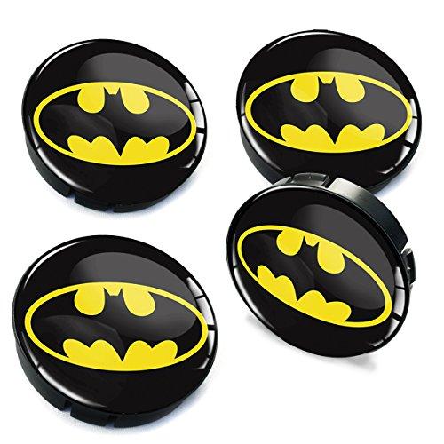 Skinotm 4 x 60 mm Voiture Centre de Roue Caps Batman Jante en Forme de dôme Badge véhicule Auto Tuning Emblème C 004