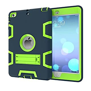 iPad Mini 3 2 1 Hülle,Allbuymall Drei-Schichten-Schutz Outdoor Außenbenutzung 3in1 Stoßfest Schutzhülle Case Cover für Apple iPad Mini 3 / 2 und 1 Generation 7.9 Zoll-(Dunkelblau+Grün)