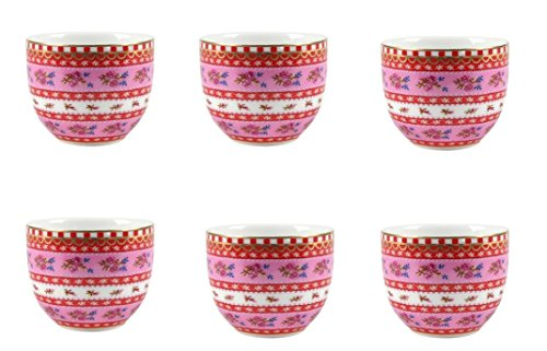 6 x PiP Eierbecher ribbon rose pink egg cup