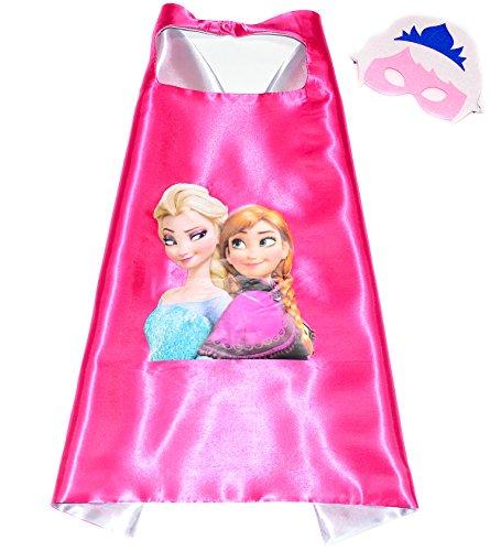 Frozen Elsa Anna Superhelden-Kostüme für Kinder - Cape und Maske - Spielsachen für Mädchen - Kostüm für Kinder von 3 bis 10 Jahre - für Fasching oder Motto-Partys! - King Mungo - KMSC003 (Elsa Cape Kostüm)