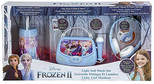 Frozen 2 Set de Regalo de colección de luz y música con Linterna/Cantar Junto a Boombox/Auriculares para niños