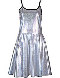 Cherry-on-Top Silver Metallic Dress Skater Skirt Festival Wear 2a4b5363273c