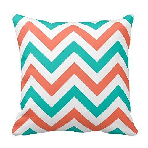 Crazy Lady 18 INCH Square Throw Pillowcase Coral, Teal, White Large Chevron Zigzag Pattern Pillow