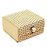 bismarckber Bambus-Holz-Schmuckkästchen für Halskette Armband Ohrringe Aufbewahrungsbox für Frauen, Cream-Colored, Einheitsgröße