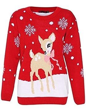Mujeres Bambi Rudolph Niños Navidad Madre Hija Hijo Navidad Jumper Top Size 8-26
