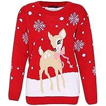 Mujeres Bambi Rudolph Niños Navidad Madre Hija Hijo Navidad Jumper Top Size ...