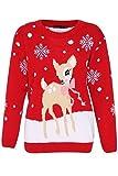 Women's Bambi Rudolph Kids Xmas Mother Daughter Son Christmas Jumper Top Size 8-26
