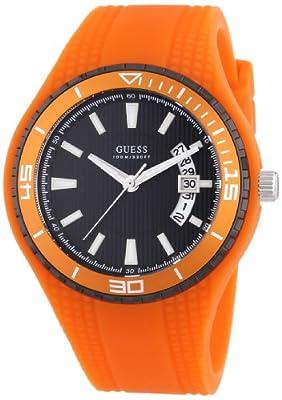 Guess W95143G5 - Reloj analógico de cuarzo para hombre con correa de silicona, color naranja de Guess