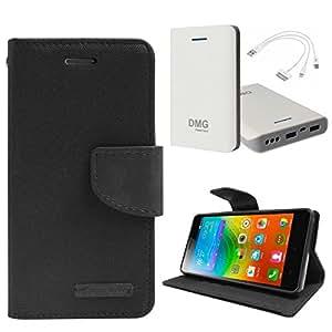 DMG Premium Canvas Diary Wallet Folio Book Cover for Lenovo K3 Note (Black) + DMG 30000 mAh Portable Power Bank
