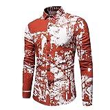 Herren Hemd,Sannysis Männer Freizeithemd Herren Hemd Slim Fit Gedruckt Langarmshirt Freizeit Business Party Shirt (3XL, Orange)