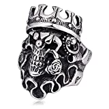 YBMEN Gioielli Uomo Acciaio Anello Roccia Punk Parte Superiore del Cranio King con Rosa Anello Hip Hop Anelli Uomo