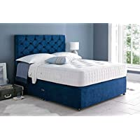 Sleep Factory Ltd Mona Velvet Divan Bed Set With 3000 Organic Pocket Memory Mattress With Headboard and 2 Drawers, 4FT Small Double Blue