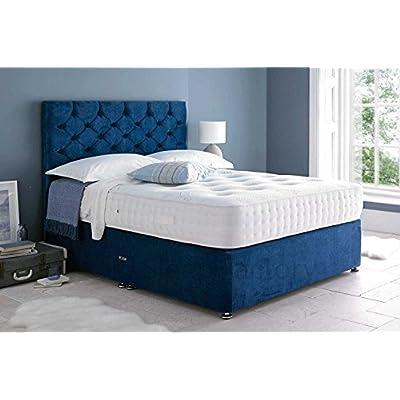 Sleep Factory Ltd Mona Velvet Divan Bed Set With 3000 Organic Pocket Memory Mattress With Headboard and 2 Drawers, 6FT Super King Blue