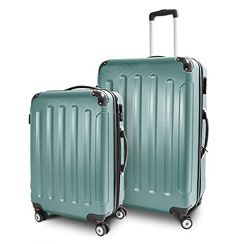 Kofferset L + XL 2-teilig Reisekoffer Trolley Hartschalenkoffer ABS Teleskopgriff Modell 'Stripes' (Lime Green)
