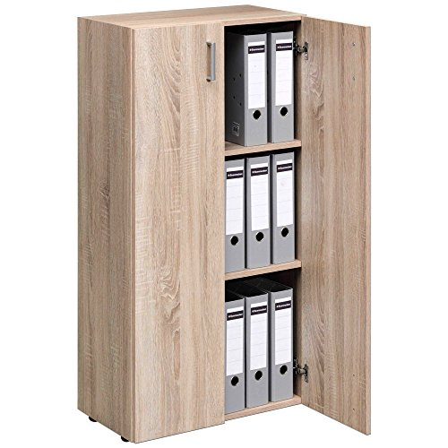 2 Tür Eiche Bücherschrank (TRIO Standregal Bücherregal Bücherschrank Regal Mehrzweckschrank Schrank mit ...)