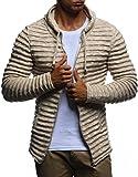 LEIF NELSON Herren Hoodie Strickjacke Kapuzenpullover Jacke Hoody Sweatjacke Zipper Sweatshirt Longsleeve LN20724; Größe L, Beige