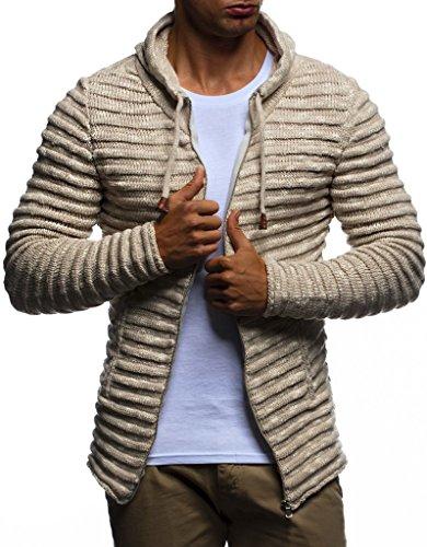 Preisvergleich Produktbild LEIF NELSON Herren Hoodie Strickjacke Kapuzenpullover Jacke Hoody Sweatjacke Zipper Sweatshirt Longsleeve LN20724; Größe S, Beige