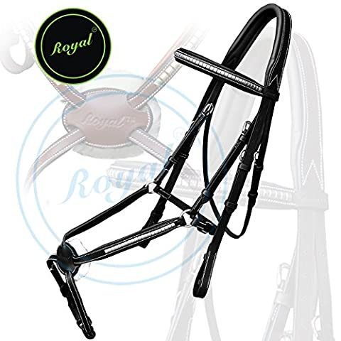 Royal Silver Clincher Grackle Bridle with PP Rubber Grip Reins./ Vegetable Tanned Leather./ Stainless Steel