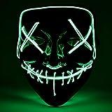 Hisome Maschera Halloween, LED Illumina la Maschere, Super Festival Cosplay Maschera Purging LED Clown Mask Halloween Accessori, Batteria alimentata(Non Inclusa) (Verde Fluorescente)