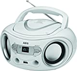 AEG SR 4374 estéreo radio con CD, incluye puerto USB, Aux-In, pantalla LCD, color blanco