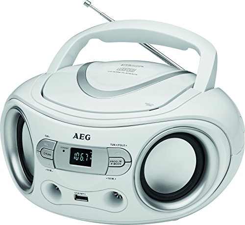 AEG SR 4374 Stereoradio mit CD inklusiv USB-Port, AUX-IN, LCD-Display weiß (Cd Player Mp3 Radio)