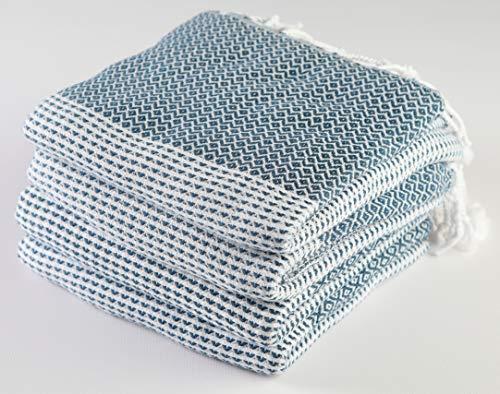Sualla Türkisches Handtuch aus 100% Baumwolle - Ägäis - Badetuch Fouta Strand Decke - Handloom Peshtemal - Diamantgewebe - 91,4 x 69 cm - Parent (Set von 4 Stück) Modern 36X69 Inches dunkelblau (Bulk Kissen In Billig)