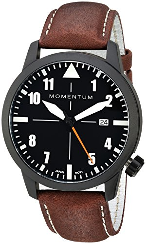 Momentum Men's 'Fieldwalker Automatic' Mechanical Hand Wind Stainless Steel and Leather Casual Watch, Color:Brown (Model: 1M-SN94BS2C)