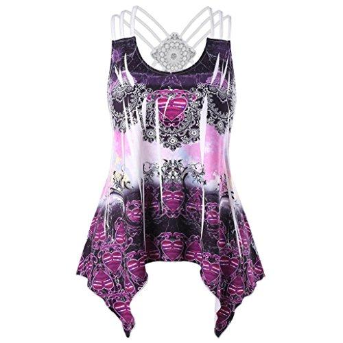 OverDose Damen Bandagen ärmellose Weste High Low Tank Top Bluse T Shirt Hinweise Strappy Tops(Z-Violett,M) -