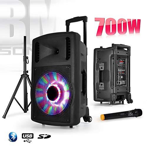 "BM SONIC 700W FUZZY12LED - BT Enceinte sono mobile 12"" à LEDs RVB + Micro + Pied"